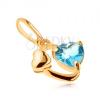 585 arany medál - ovális kontúr, fényes szív, szív kék topázból