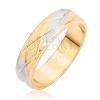 Kétszínű gyűrű rombuszos mintával és függőleges vésetekkel