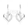 925 ezüst fülbevaló, aszimmetrikus szív kontúr cirkóniákkal díszítve