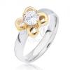 Ezüst színű acél gyűrű, arany színű virág átlátszó cirkóniával