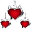 Fülbevaló és medál készlet 925 ezüstből - piros ördög szív