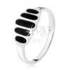 925 ezüst gyűrű, fekete oválisok ónixból, sima szárak, magas fény