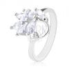 Ezüst színű gyűrű, csiszolt cirkóniás levélkék átlátszó színben