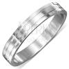 Fényes acél gyűrű ezüst színben, két vízszintes véset
