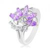 Gyűrű fényes osztott szárakkal, lila-átlátszó fél virág