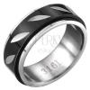 Acél gyűrű - fekete - ezüst, forgatható sáv, levélkék