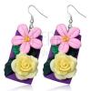 Fimo fülbevaló - sárga rózsa és rózsaszínű virág lila téglalapon
