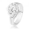 Gyűrű ezüst színű árnyalatban, osztott szárak, átlátszó cirkóniák