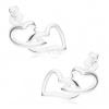 Bedugós fülbevaló, 925 ezüstből, összekapcsolt körvonalak, aszimmetrikus szívek