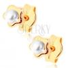 Bedugós fülbevaló 9K sárga aranyból - apró fényes virág, fehér gyöngy