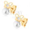 Fülbevaló 9K sárga aranyból - fényes pillangó, átlátszó cirkónia, gyöngy fehér színben