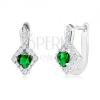 Fülbevaló 925 ezüstből, zöld szív alakú kő tiszta köves rombuszban