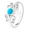 925 ezüst gyűrű, kerek türkiz, fényes minták szűk szárak