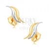 Ródiumozott fülbevaló 9K aranyból - két, kétszínű, csillogó hullám
