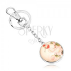 Kulcstartó cabochon stílusban, kör átlátszó kidomborodó üveggel, madár, virágok