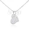 925 ezüst nyakék, aszimetrikus szív, átlátszó cirkóniákkal