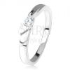 Fényes gyűrű, átlátszó cirkónia középen, dísz kivágások, 925 ezüst
