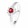 Gyűrű szimetrikus cirkóniás szívvel, piros kő, 925 ezüst