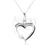 925 ezüst nyakék, szimetrikus szív körvonal, átlátszó cirkóniával