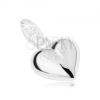 Medál 925 ezüstből, átlátszó kövek, fényes, kidomorodó szív