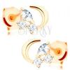 Fülbevaló 14K sárga aranyból - fényes félhold, csillogó átlátszó cirkóniák