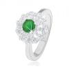Gyűrű 925 ezüstből, virág átlátszó szirom körvonallal és zöld cirkóniás középpel