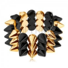Háromsoros tüskés karkötő, rugalmas, fekete és arany árnyalat