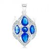 925 ezüst medál, csillogó búzaszem átlátszó és kék cirkóniákkal díszítve