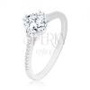 925 ezüst gyűrű, vékony csillogó szárak, kör alakú cirkónia