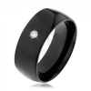 Fekete acél karikagyűrű, fényes domború felületű, kerek átlátszó cirkóniával