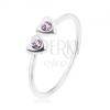 925 ezüst gyűrű, állítható, két szív lila cirkóniával