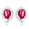 925 ezüst fülbevaló, ovális pirosas rózsaszín cirkónia, átlátszó körvonallal