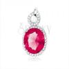 925 ezüst medál, pirosasrózsaszín ovális forma, átlátszó szegély, könnycsepp körvonal