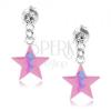 Beszúrós fülbevaló, 925 ezüst, rózsaszín csillag, kék cikk-cakk minta, kristály