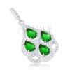925 ezüst medál, zöld cirkónia könnycseppek, átlátszó szegély
