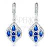 925 ezüst fülbevaló, széles búzaszem kék és átlátszó cirkóniákkal díszítve fülbevaló