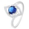 925 ezüst gyűrű, csillogó búzaszem körvonal, kerek, kék cirkónia dísszel