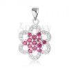 925 ezüst medál, virág rózsaszín és átlátszó cirkóniákból, ívelt szirmokkal