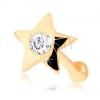 Egyenes orrpiercing 14K sárga színű aranyból - kis, fényes cirkóniás csillag