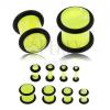 Akril fülplug, neonsárga szín, márvány minta, fekete gumik