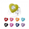 Beszúrós fülbevaló 925 ezüstből, fénymázas szív, Swarovski kristály