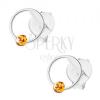 925 ezüst fülbevaló, keskeny karika narancssárga Swarovski kristállyal