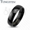 Wolfrám gyűrű fekete árnyalatban, tükörfényű sima felszín, 4 mm