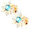 Bedugós fülbevaló 14K sárga színű aranyból - virág cirkóniákból és kék topázból