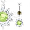 Acél köldökpiercing, ezüst szín, virág - zöld cirkónia, átlátszó szirmok