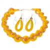 Szett nyakékből és fülbevalóból, masszív fonott lánc, sárga háló - gyöngyök
