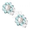 Beszúrós fülbevaló, 925 ezüst, gyöngy, világoskék Preciosa kristályok