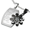 Acél kettősmedál, fényes téglalap virággal, ezüst és fekete szín
