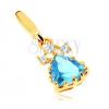 Csillogó medál 14K sárga aranyból - háromszög kék topázból, átlátszó cirkóniák