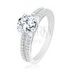925 ezüst eljegyzési gyűrű, kettéváló szárak, cirkónia kő